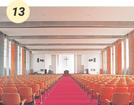 1500人の収容力を持つ桑原キャンパスのシンボル的なチャペル【愛真館2F】